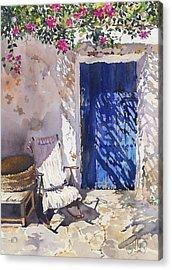 Blue Door Acrylic Print by Margaret Merry