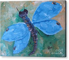 Blue -dragonfly Acrylic Print by Beverly Livingstone