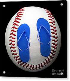 Blue Flip Flops Baseball Square Acrylic Print by Andee Design