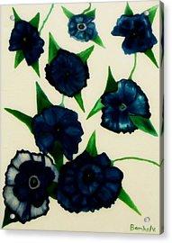 Blue Floral Burst Acrylic Print by Bamhs Blair