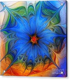 Blue Flower Dressed For Summer Acrylic Print by Karin Kuhlmann