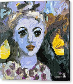 Blue Girl Abstract Modern Art Acrylic Print by Ginette Callaway