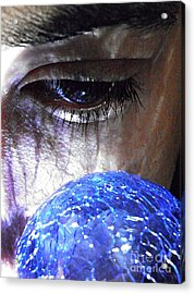 Blue Glass World Acrylic Print by Sarah Loft
