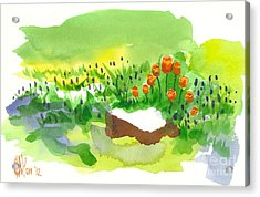 Blue Grape Hyacinths With Red Tulips And Tree Stump Acrylic Print by Kip DeVore