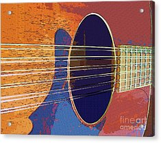 Blue Guitar Acrylic Print by Barbara Drake