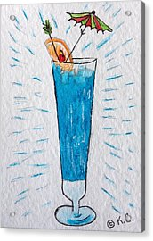 Blue Hawaiian Cocktail Acrylic Print by Kathy Marrs Chandler