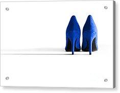 Blue High Heel Shoes Acrylic Print by Natalie Kinnear