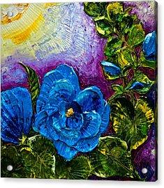 Blue Hollyhocks Acrylic Print by Paris Wyatt Llanso