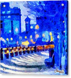 Blue January Night In The City Tnm Acrylic Print by Vincent DiNovici