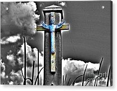 Blue Jesus Reprise Acrylic Print by Rick Bravo