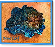 Blue Leaf Ceramic Design 2 Acrylic Print by Joan-Violet Stretch