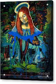 Blue Madonna In Tree Acrylic Print by Genevieve Esson