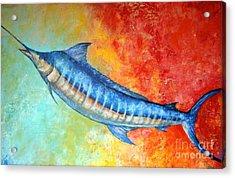 Blue Marlin Fish Acrylic Print by Gabriela Valencia