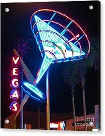 Blue Martini Glass Las Vegas Acrylic Print by John Malone
