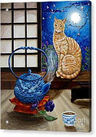 Blue Moon Tea Acrylic Print by Laura Iverson
