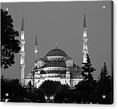 Blue Mosque In Black And White Acrylic Print by Stephen Stookey