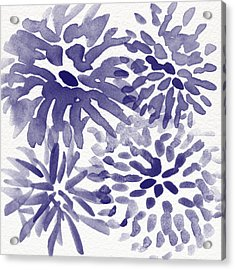 Blue Mums- Watercolor Floral Art Acrylic Print by Linda Woods