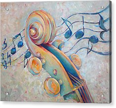 Blue Notes - Cello Scroll In Blues Acrylic Print by Susanne Clark