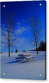 Blue On A Snowy Day Acrylic Print by Dan Sproul