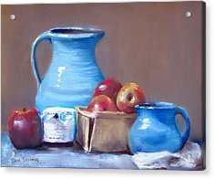 Blue Pitchers And Apples Acrylic Print by Jack Skinner