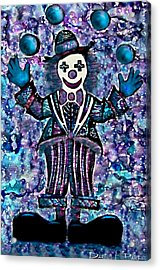 Blue Purple Alcohol Inks Juggling Clown Acrylic Print by Danielle  Parent