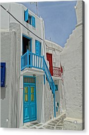 Blue Railing With Stairway In Mykonos Greece Acrylic Print by M Bleichner