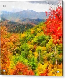 Blue Ridge Mountains Fall Color Acrylic Print by Dan Sproul