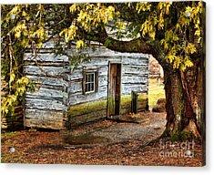 Blue Ridge Parkway - Mabry Mill Building In The Rain Acrylic Print by Dan Carmichael