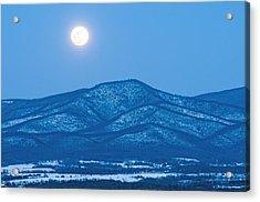 Blue Ridge Winter Moon Acrylic Print by Lara Ellis