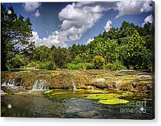 Blue River Water Falls Acrylic Print by Tamyra Ayles