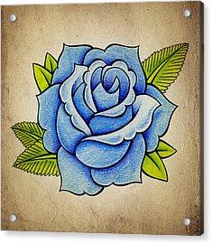Blue Rose Acrylic Print by Samuel Whitton