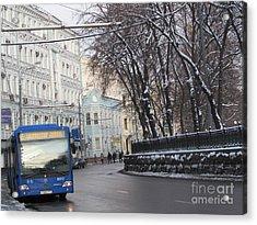 Blue Trolleybus Acrylic Print by Anna Yurasovsky