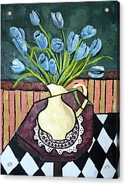 Blue Tulips On Octagon Table Acrylic Print by Anthony Falbo