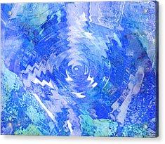 Blue Twirl Abstract Acrylic Print by Ann Powell