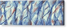 Blue White And Coral Abstract Panoramic Painting Acrylic Print by Beverly Brown Prints