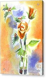 Blue With Redy Roses And Holly Acrylic Print by Kip DeVore