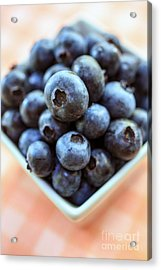 Blueberries Closeup Acrylic Print by Edward Fielding
