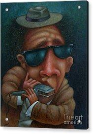 Blues In Hand 2001 Acrylic Print by Larry Preston