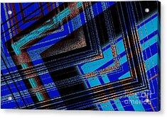 Bluish Geometric Design Acrylic Print by Mario Perez