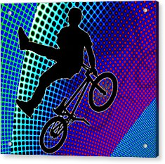 Bmx In Fractal Movie Marquee Acrylic Print by Elaine Plesser