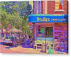 Bo Bec Creme Glacee Ice Cream Shop Laurier Montreal Springtime Cafe Scene By Carole Spandau Acrylic Print by Carole Spandau