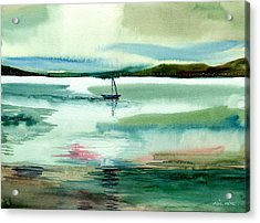 Boat N Creek Acrylic Print by Anil Nene