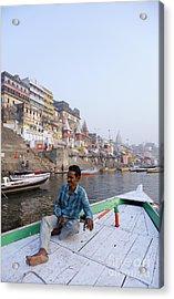Boat On The River Ganges At Varanasi In India Acrylic Print by Robert Preston