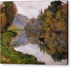 Boat On The Seine Near Jeufosse Acrylic Print by Claude Monet