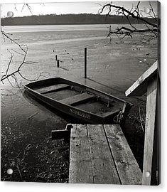 Boat In Ice - Lake Wingra - Madison - Wi Acrylic Print by Steven Ralser