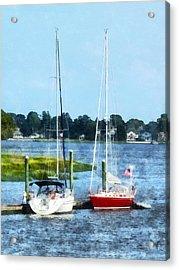Boat - Two Docked Sailboats Norwalk Ct Acrylic Print by Susan Savad