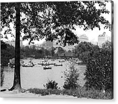 Boaters In Central Park Acrylic Print by Underwood Archives