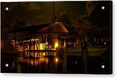 Boathouse Night Glow Acrylic Print by Michael Thomas