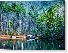 Boathouse On Pinnacle Lake Acrylic Print by Optical Playground By MP Ray