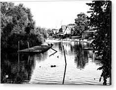 Boathouse Row Lagoon In Black And White Acrylic Print by Bill Cannon